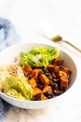 Sweet Potato and Black Bean Enchilada Rice Bowl