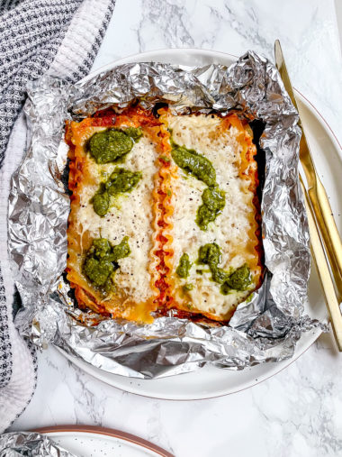 Grilled Lasagna Packets with Pesto